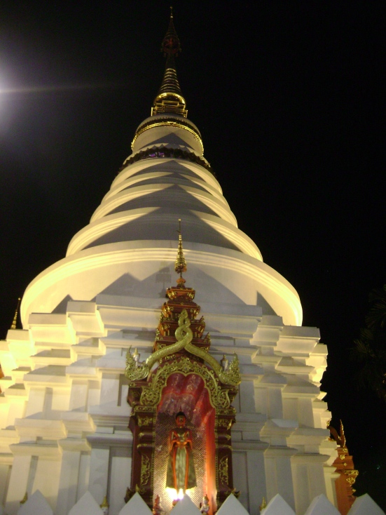 Thai wat temple at night in Chiang Mai