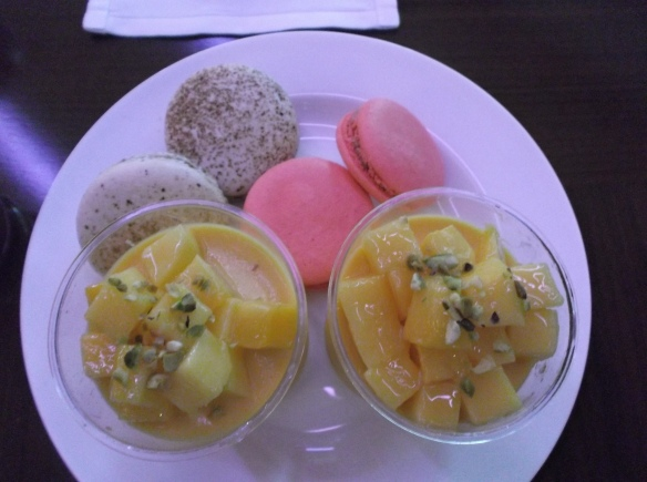mango pudding and macaroons