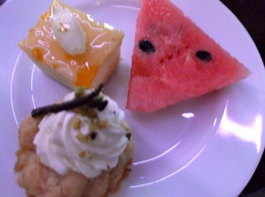watermelon, apple tart, mango cheese cake