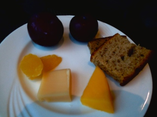 Plums, cheese, banana bread