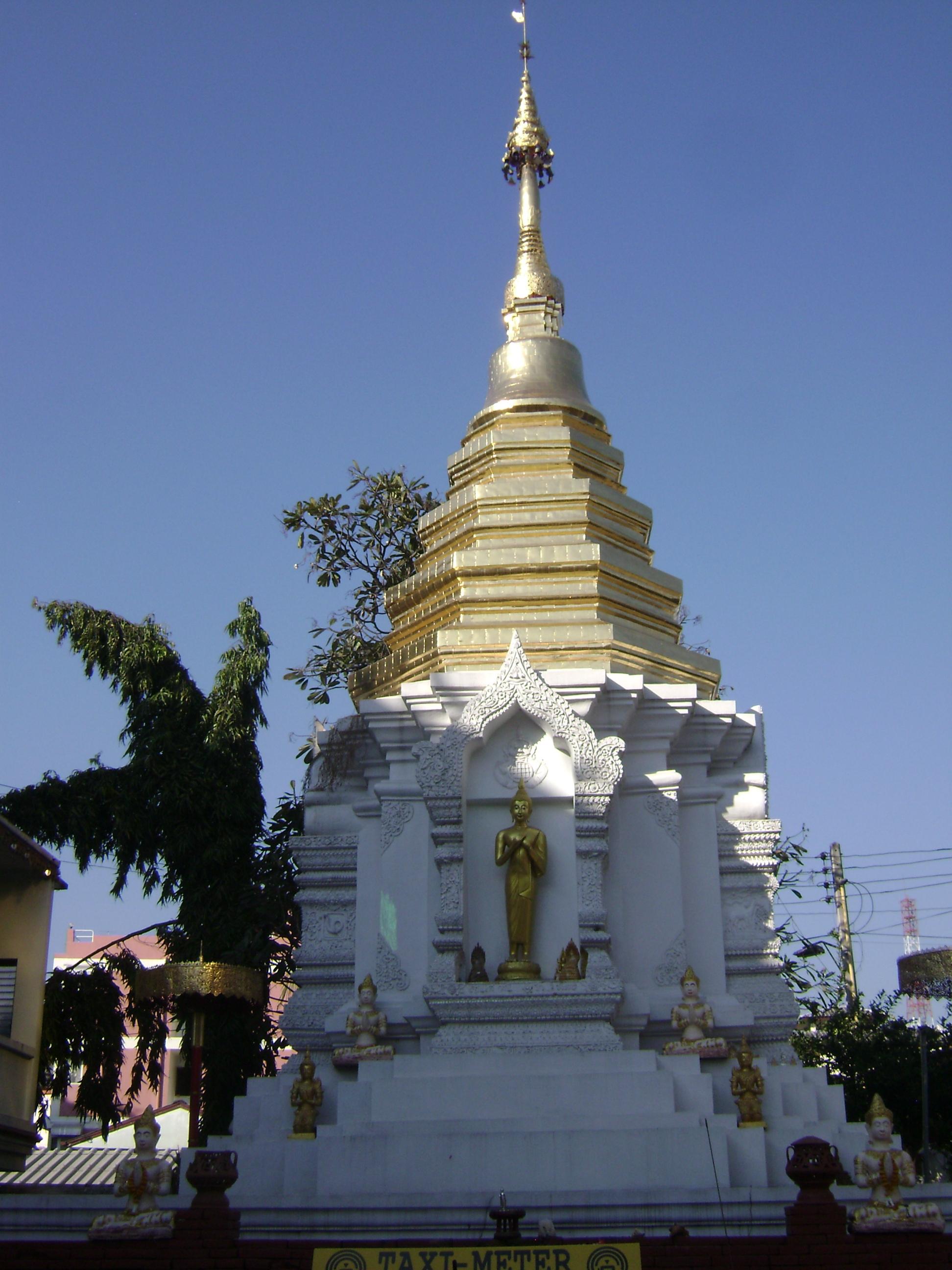 a shadowed stupa in Thailand