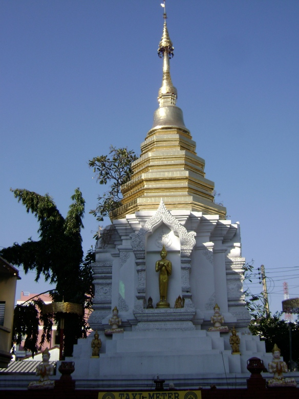 a shadowed stupa in Thailand