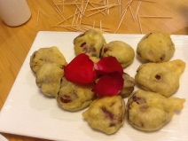 Tempura purple potatoes