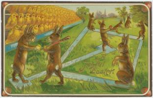 vintage-bizarre-Easter-Greetings-rabbits-playing-baseball-with-Easter-eggs-audience-chicks