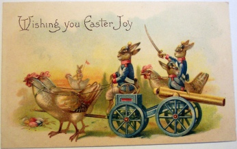 vintage-Easter-greetings-odd-rabbits-cannon-soldiers-Wishing-you-Easter-Joy