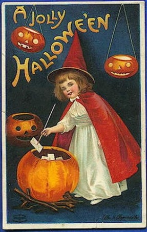 vintage-halloween-little-girl-witch-red-cape-hat-pumpkins-card1