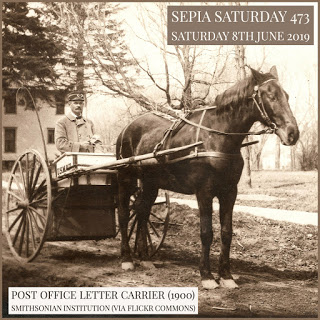 Letter Carrier With Horse And Cart (Sepia Saturday 473)