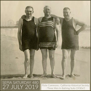 Sepia Saturday 480 Header - Three Men In Bathing Suits (27 July 2019)