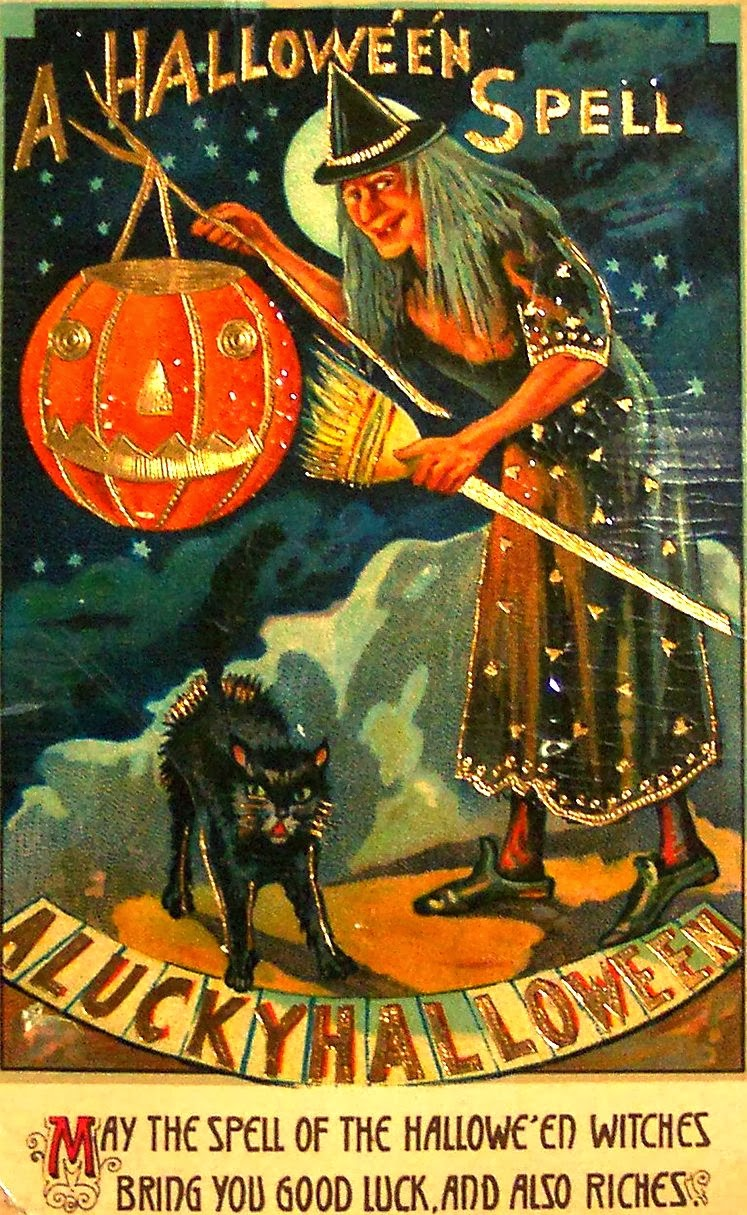 Halloween Witch Postcards c. 1900's (3)