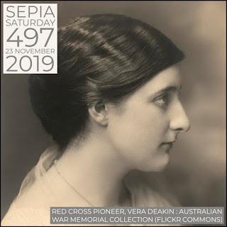 Red Cross Pioneer, Vera Deakin : Sepia Saturday 497 Header