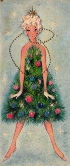 Christmas card tree girl