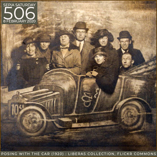 Posing With The Car - Liberas Collection, Flickr (Sepia Saturday 506)