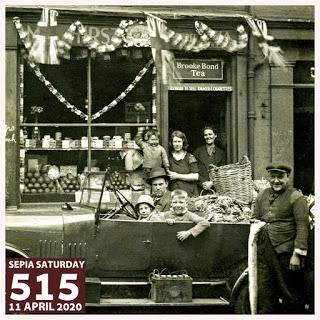 2003518 : Sepia Saturday 515 : Car Outside A Shop