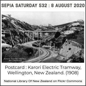 Karori Electric Tramway Postcard (Via Flickr Commons) Sepia Saturday 532