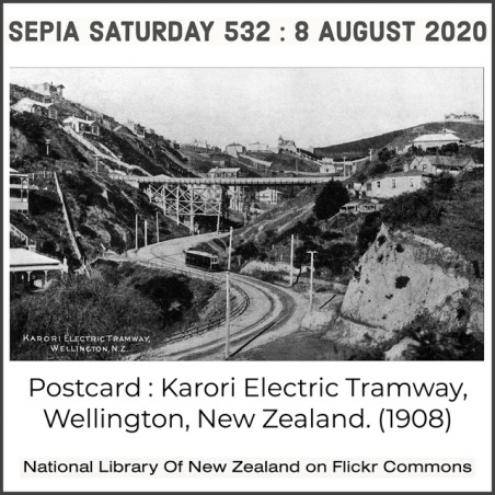 Karori Electric Tramway Postcard (Via Flickr Commons) Sepia Saturday 532